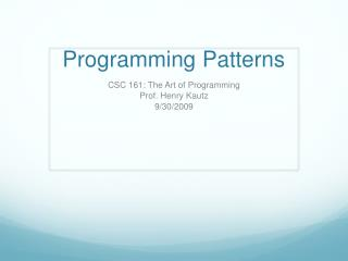 Programming Patterns