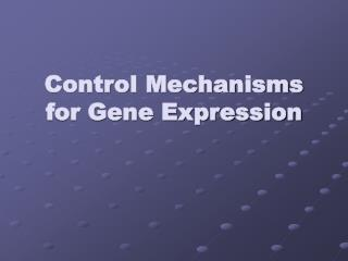 Control Mechanisms for Gene Expression
