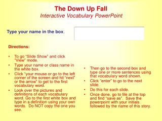 The Down Up Fall Interactive Vocabulary PowerPoint