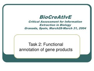Task 2: Functional annotation of gene products