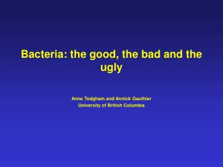 Bacteria: the good, the bad and the ugly