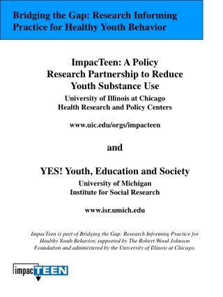 ImpacTeen: A Policy Research Partnership to Reduce  Youth Substance Use