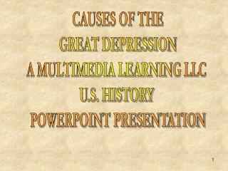 CAUSES OF THE GREAT DEPRESSION A MULTIMEDIA LEARNING LLC  U.S. HISTORY  POWERPOINT PRESENTATION