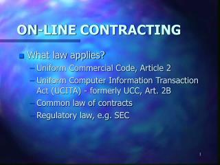 ON-LINE CONTRACTING