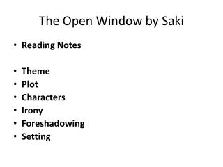 The Open Window by Saki