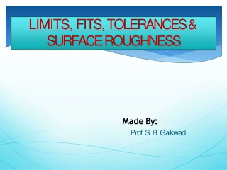 Fits  Tolerances