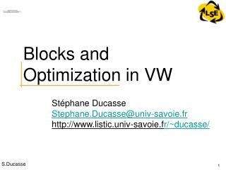 Blocks and Optimization in VW