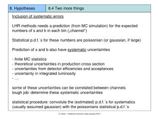 8. Hypotheses            8.4 Two more things