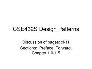CSE432S Design Patterns