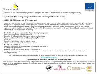 Apprenticeship & Traineeship Manager (Walsall based but will be required to travel to all sites)