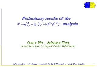 Preliminary results of the                                            analysis