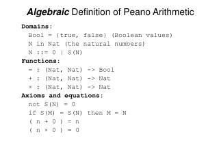 Algebraic Definition of Peano Arithmetic
