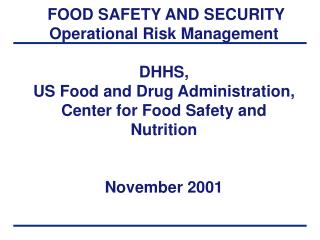 FOOD SAFETY AND SECURITY