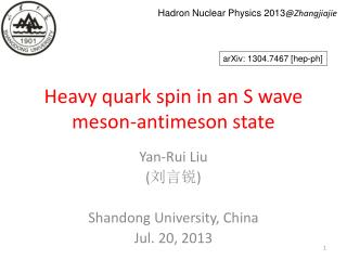 Heavy quark spin in an S wave meson-antimeson state