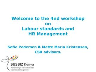 Welcome to the 4nd workshop on Labour standards and  HR Management