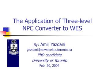 The Application of Three-level NPC Converter to WES