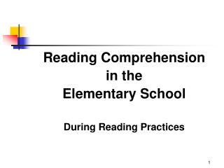 Reading Comprehension in the Elementary School  During Reading Practices