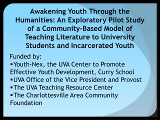 Funded by: Youth-Nex, the UVA Center to Promote Effective Youth Development, Curry School