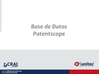 Base de Datos  Patentscope