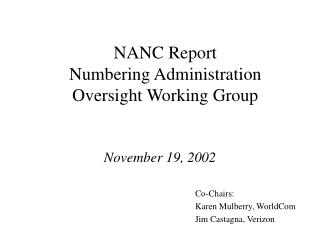 NANC Report  Numbering Administration Oversight Working Group