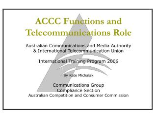 ACCC Functions and Telecommunications Role