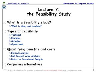 Lecture 7: the Feasibility Study