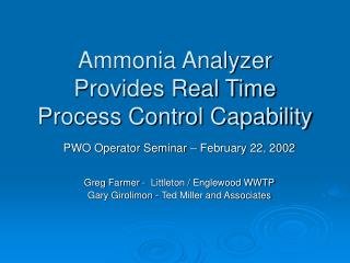 Ammonia Analyzer Provides Real Time Process Control Capability