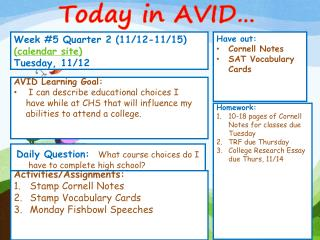 Week  # 5  Quarter 2 (11/12-11/15)  ( calendar site) Tuesday, 11/12