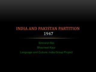 India and Pakistan Partition 1947