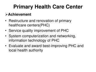 Primary Health Care Center