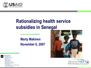 Rationalizing health service subsidies in Senegal