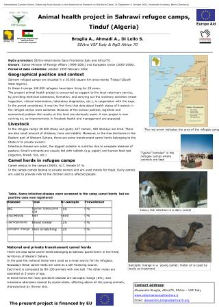 Animal health project in Sahrawi refugee camps,  Tinduf (Algeria)