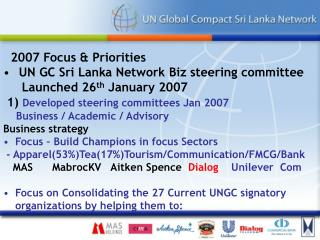 2007 Focus & Priorities  UN GC Sri Lanka Network Biz steering committee       Launched 26 th  January 2007  1)  Develope