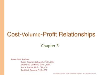 Cost- Volume -Profit Relationships