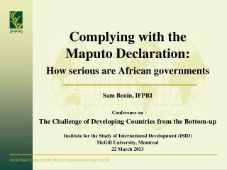 Complying with the  Maputo Declaration: How serious are African governments