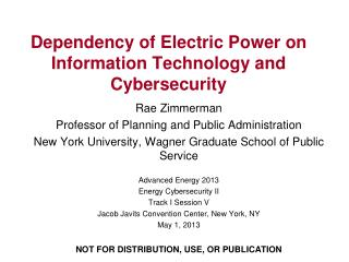 Dependency of Electric Power on Information Technology and Cybersecurity