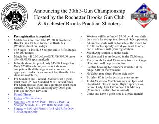 Announcing the 30th 3-Gun Championship Hosted by the Rochester Brooks Gun Club  Rochester Brooks Practical Shooters