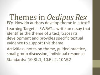 oedipus the king themes and motifs