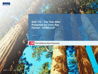 SAS 112 – The Year After Presented by Chris Ray Partner - KPMG LLP KPMG LLP