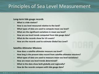 Principles of Sea Level Measurement