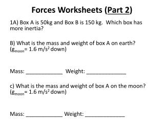 Forces Worksheets ( Part 2 )