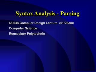 Syntax Analysis - Parsing