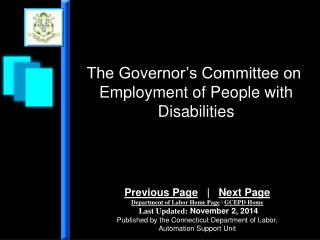The Governor's Committee on  Employment of People with Disabilities