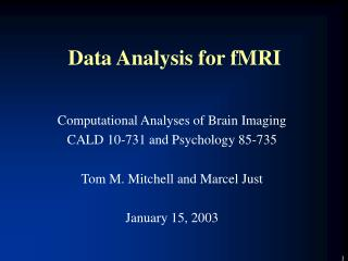 Data Analysis for fMRI