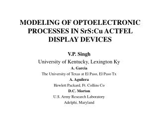 MODELING OF OPTOELECTRONIC PROCESSES IN SrS:Cu ACTFEL DISPLAY DEVICES