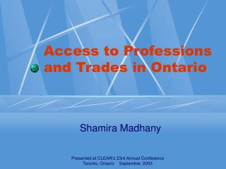 Access to Professions and Trades in Ontario