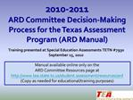 2010-2011 ARD Committee Decision-Making Process for the Texas Assessment Program ARD Manual
