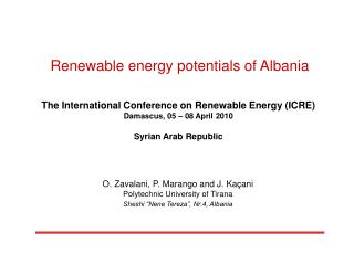 Renewable energy potentials of Albania    The International Conference on Renewable Energy ICRE Damascus, 05   08 April