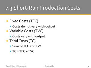 7.3 Short-Run Production Costs