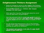 Enlightenment Thinkers Assignment
